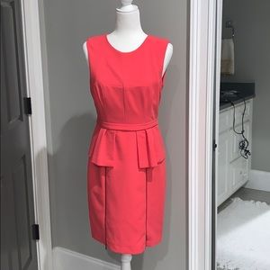 pink fitted work dress